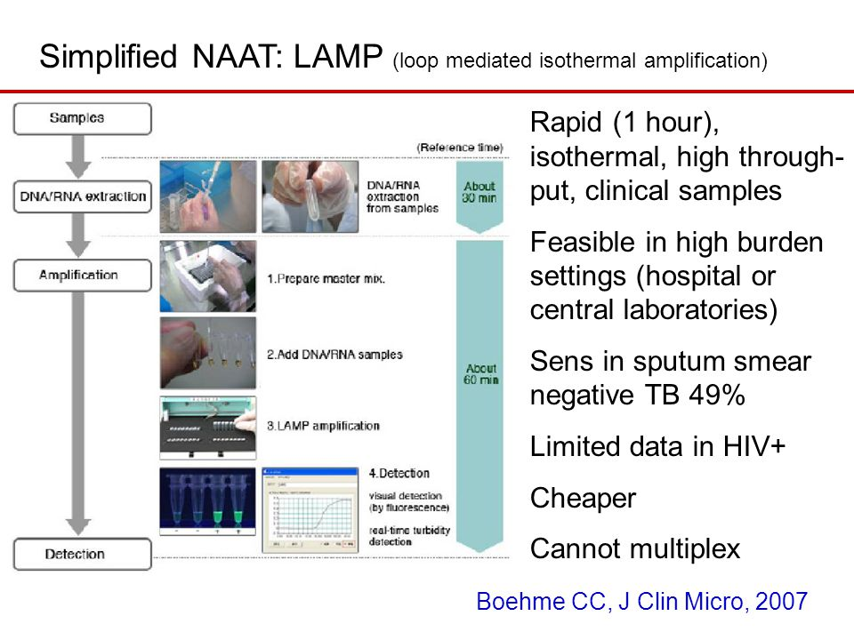 Simplified NAAT: LAMP (loop mediated isothermal amplification) Rapid (1 hour), isothermal, high through- put, clinical samples Feasible in high burden settings (hospital or central laboratories) Sens in sputum smear negative TB 49% Limited data in HIV+ Cheaper Cannot multiplex Boehme CC, J Clin Micro, 2007