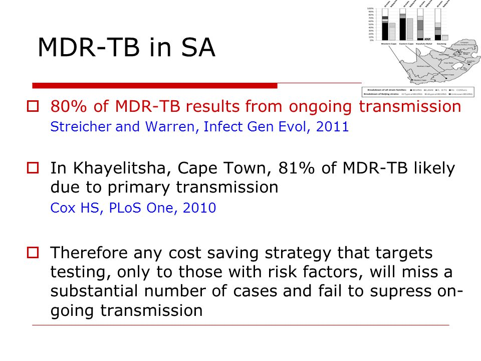 MDR-TB in SA 80% of MDR-TB results from ongoing transmission Streicher and Warren, Infect Gen Evol, 2011 In Khayelitsha, Cape Town, 81% of MDR-TB likely due to primary transmission Cox HS, PLoS One, 2010 Therefore any cost saving strategy that targets testing, only to those with risk factors, will miss a substantial number of cases and fail to supress on- going transmission