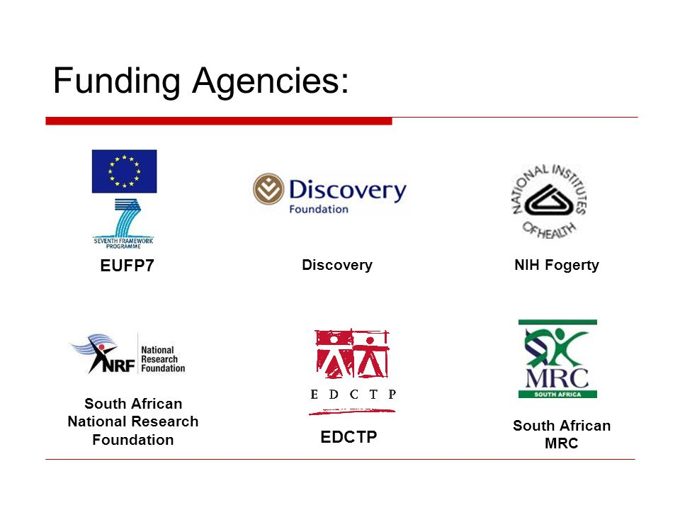 Funding Agencies: EUFP7 EDCTP South African MRC South African National Research Foundation DiscoveryNIH Fogerty