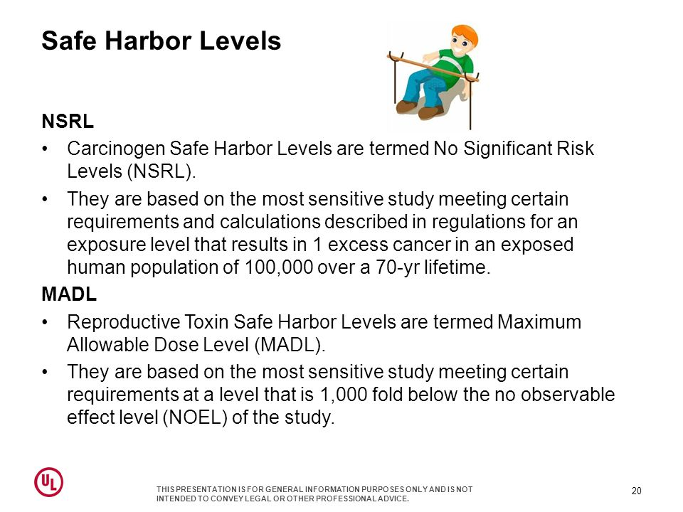 Safe Harbor Levels NSRL Carcinogen Safe Harbor Levels are termed No Significant Risk Levels (NSRL).