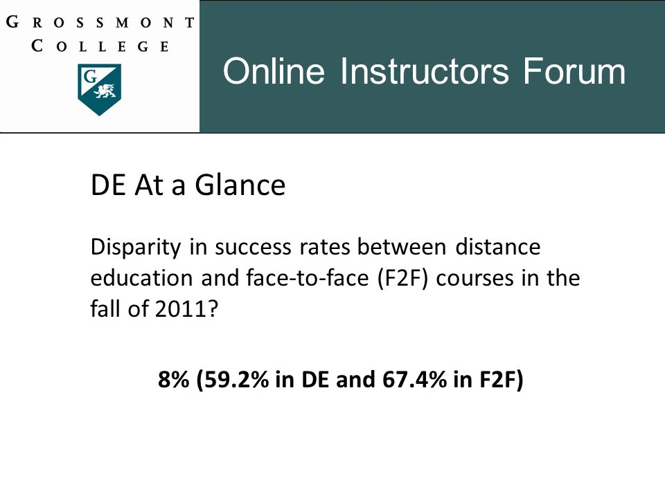 Online Instructors Forum DE At a Glance Disparity in success rates between distance education and face-to-face (F2F) courses in the fall of 2011.