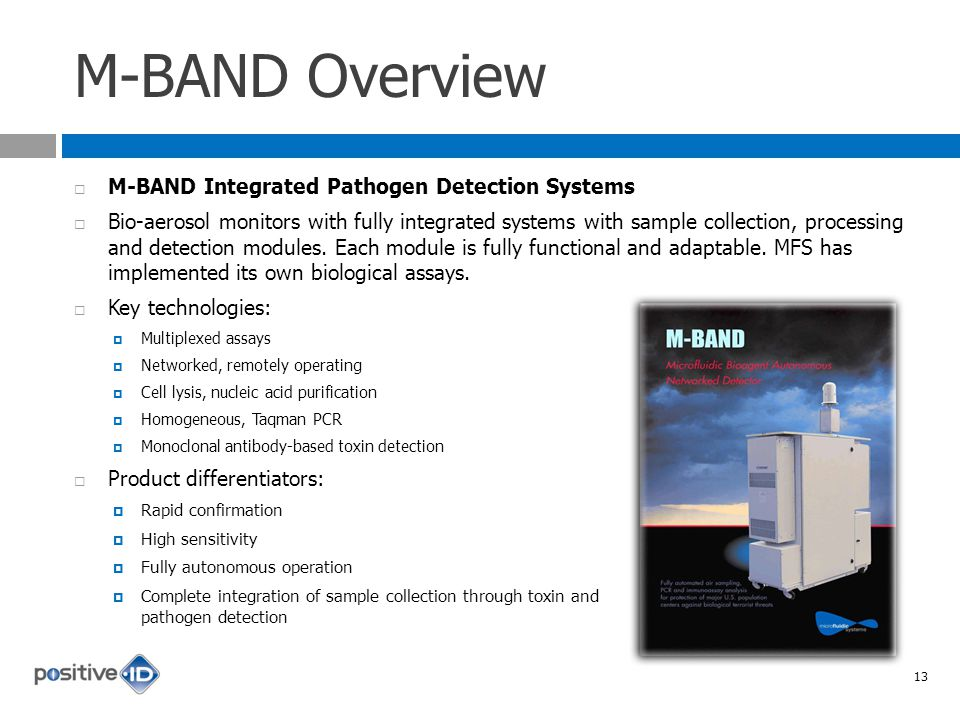 M-BAND Overview M-BAND Integrated Pathogen Detection Systems Bio-aerosol monitors with fully integrated systems with sample collection, processing and detection modules.