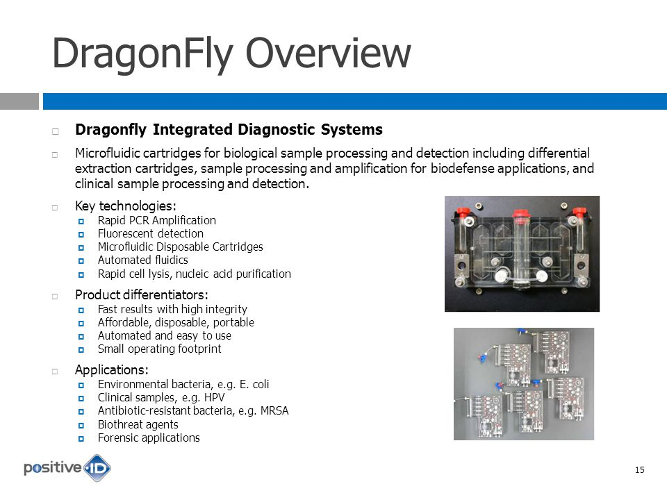 DragonFly Overview Dragonfly Integrated Diagnostic Systems Microfluidic cartridges for biological sample processing and detection including differential extraction cartridges, sample processing and amplification for biodefense applications, and clinical sample processing and detection.