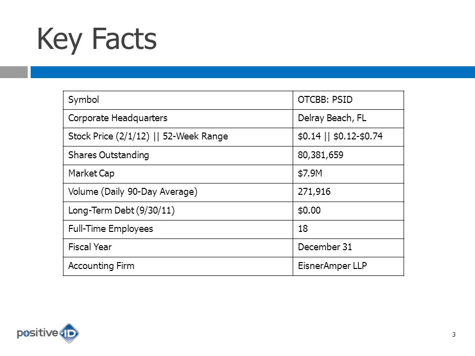 Key Facts SymbolOTCBB: PSID Corporate HeadquartersDelray Beach, FL Stock Price (2/1/12) || 52-Week Range$0.14 || $0.12-$0.74 Shares Outstanding80,381,659 Market Cap$7.9M Volume (Daily 90-Day Average)271,916 Long-Term Debt (9/30/11)$0.00 Full-Time Employees18 Fiscal YearDecember 31 Accounting FirmEisnerAmper LLP 3