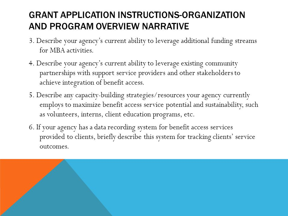 GRANT APPLICATION INSTRUCTIONS-ORGANIZATION AND PROGRAM OVERVIEW NARRATIVE 3.