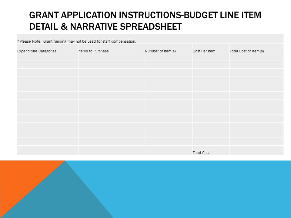 GRANT APPLICATION INSTRUCTIONS-BUDGET LINE ITEM DETAIL & NARRATIVE SPREADSHEET *Please Note: Grant funding may not be used for staff compensation.