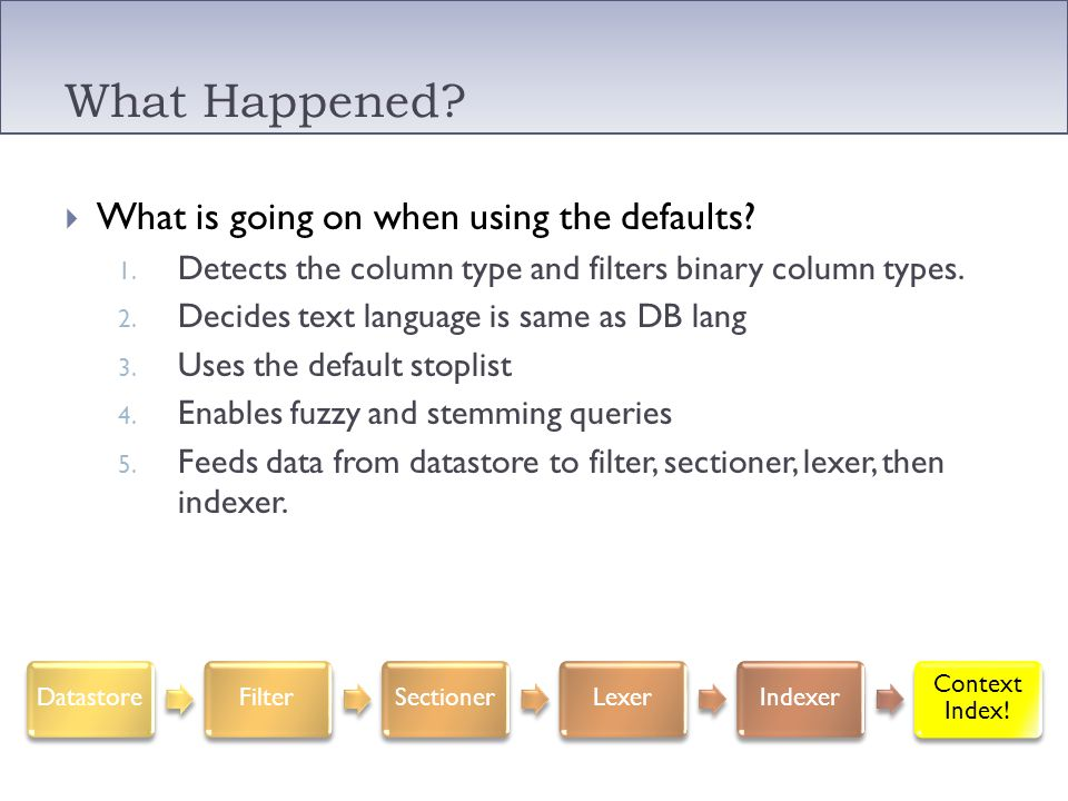 What Happened? What is going on when using the defaults? 1. Detects the column type and filters binary column types. 2. Decides text language is same