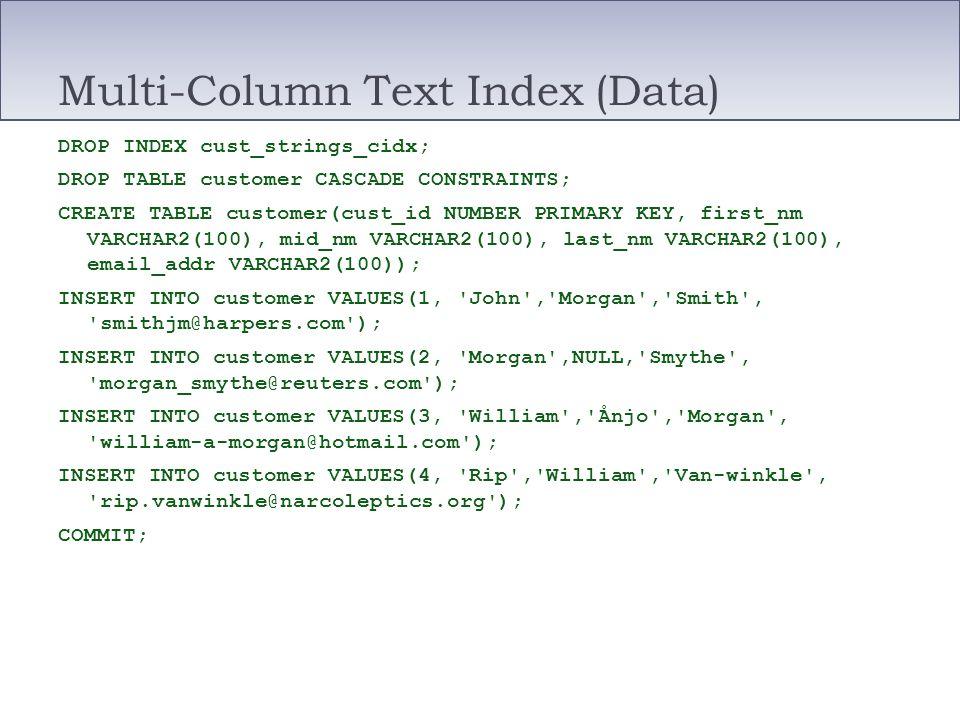 Multi-Column Text Index (Data) DROP INDEX cust_strings_cidx; DROP TABLE customer CASCADE CONSTRAINTS; CREATE TABLE customer(cust_id NUMBER PRIMARY KEY