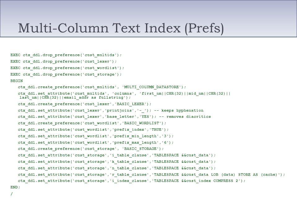 Multi-Column Text Index (Prefs) EXEC ctx_ddl.drop_preference('cust_multids'); EXEC ctx_ddl.drop_preference('cust_lexer'); EXEC ctx_ddl.drop_preference