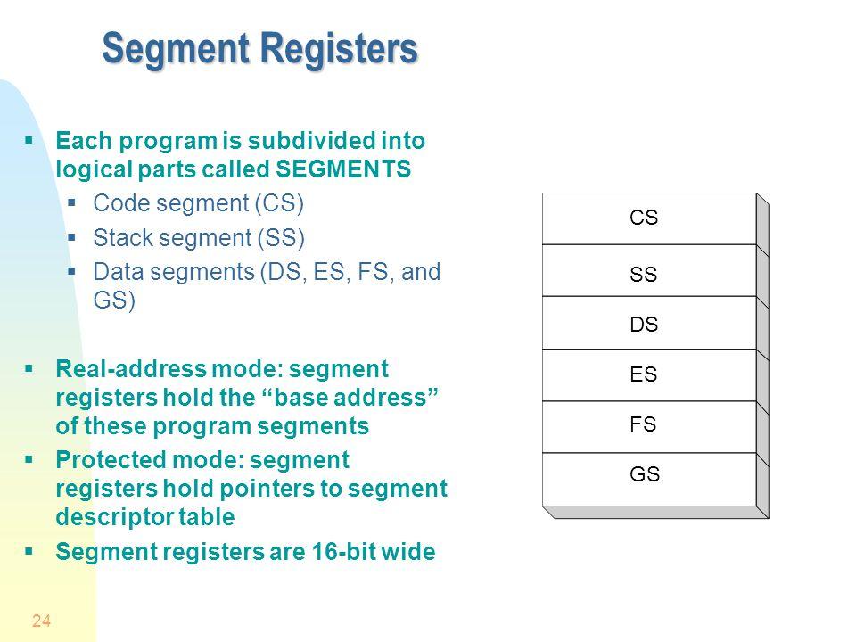 24 Segment Registers Each program is subdivided into logical parts called SEGMENTS Code segment (CS) Stack segment (SS) Data segments (DS, ES, FS, and