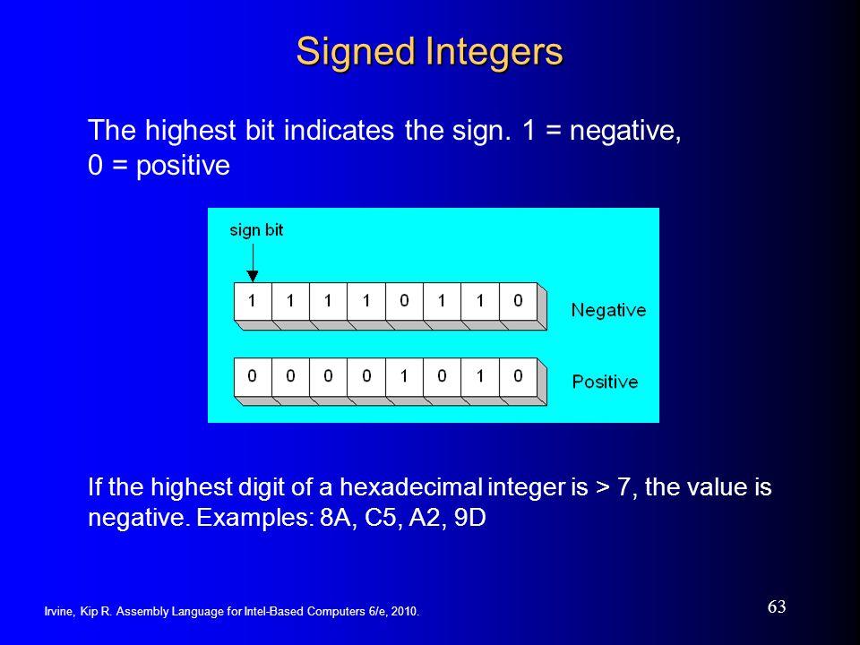 Irvine, Kip R. Assembly Language for Intel-Based Computers 6/e, 2010. 63 Signed Integers The highest bit indicates the sign. 1 = negative, 0 = positiv