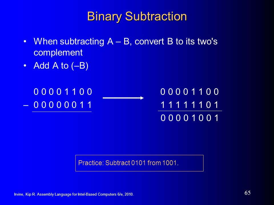 Irvine, Kip R. Assembly Language for Intel-Based Computers 6/e, 2010. 65 Binary Subtraction When subtracting A – B, convert B to its two's complement