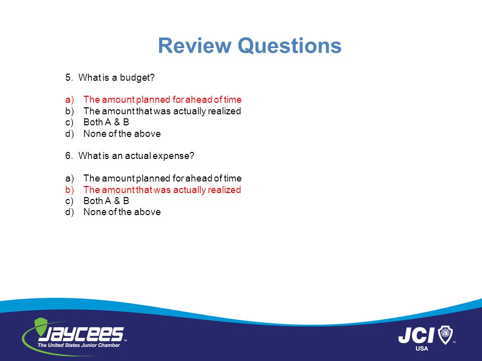 Review Questions 5.What is a budget.