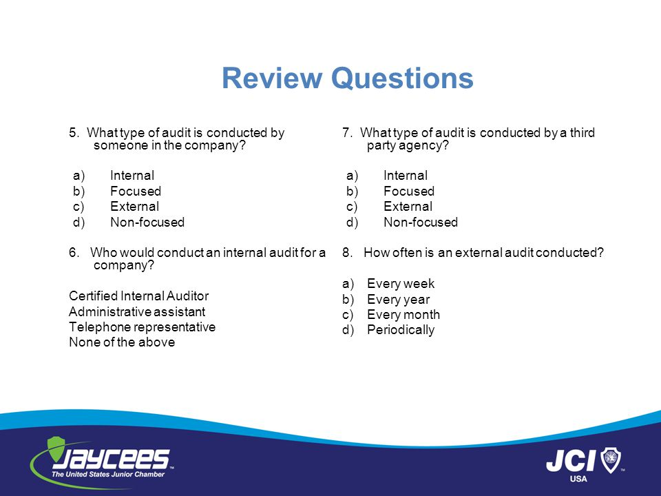 Review Questions 5.What type of audit is conducted by someone in the company.