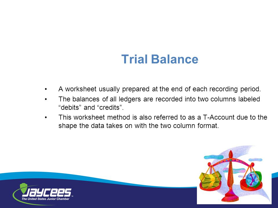 Trial Balance A worksheet usually prepared at the end of each recording period.