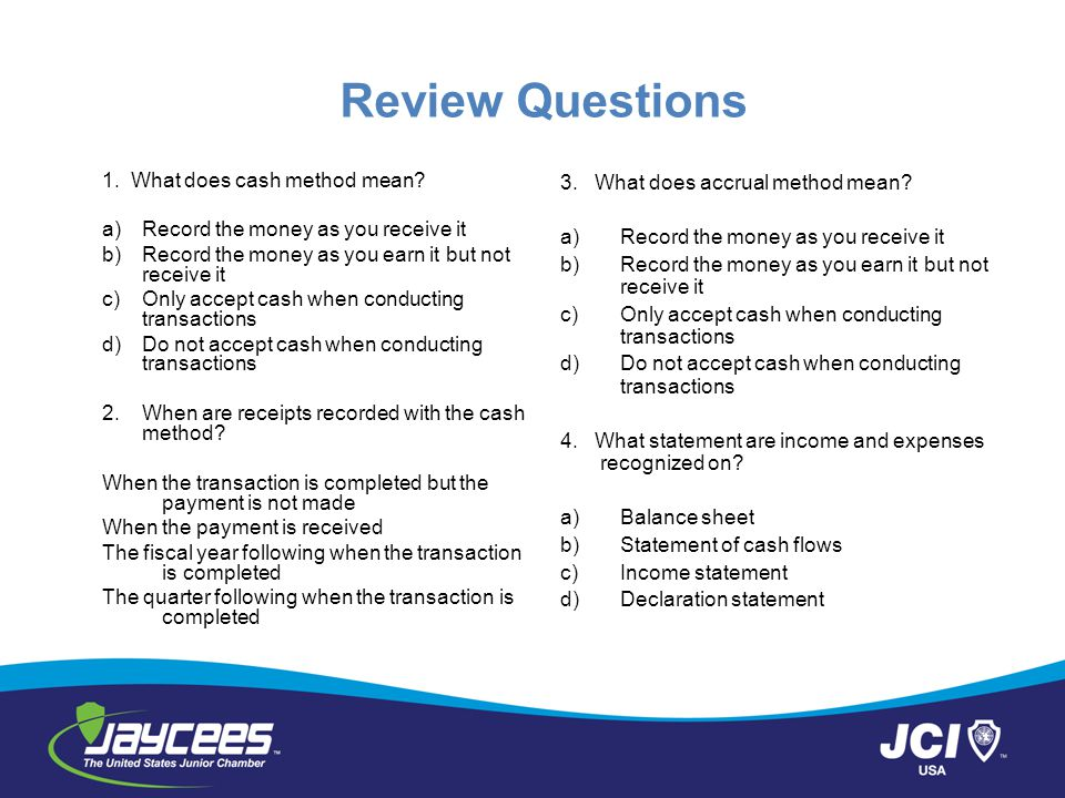 Review Questions 1.What does cash method mean.