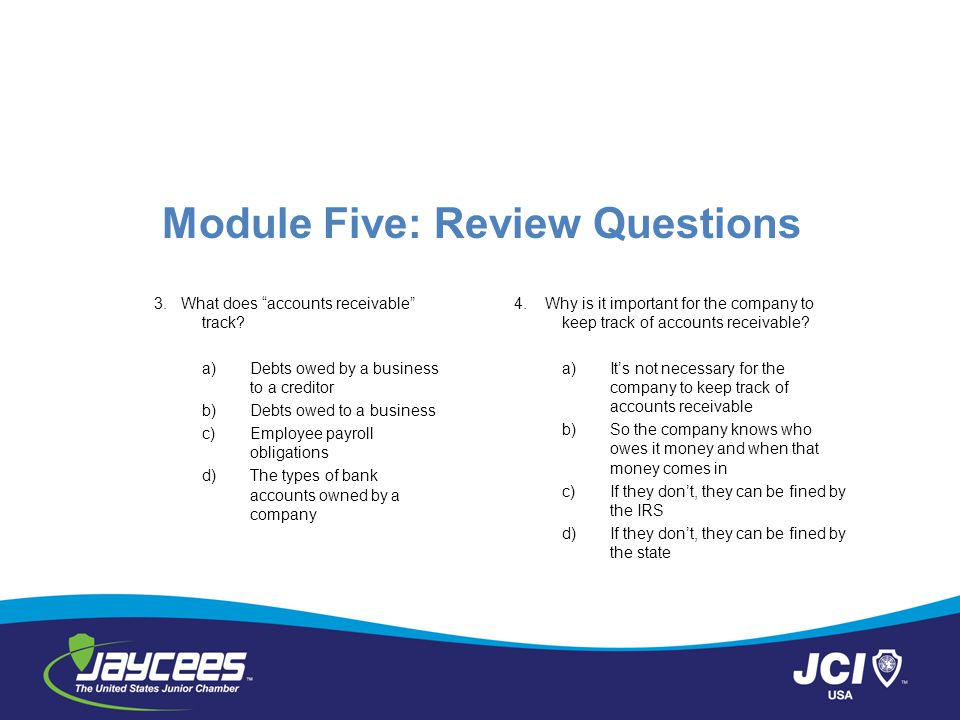 Module Five: Review Questions 3.What does accounts receivable track.