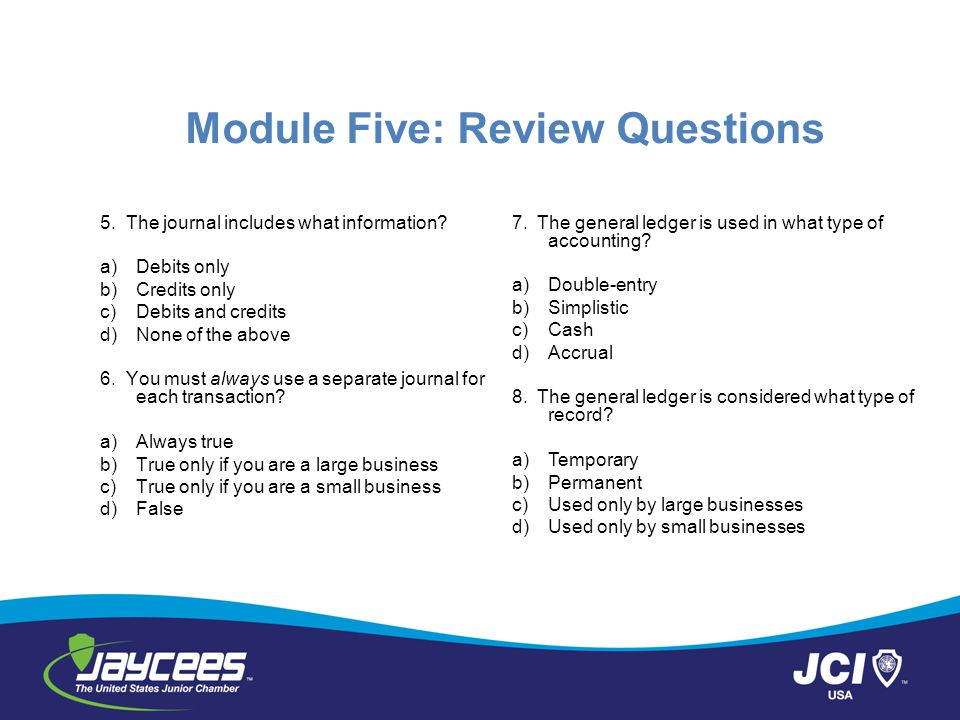 Module Five: Review Questions 5.The journal includes what information.