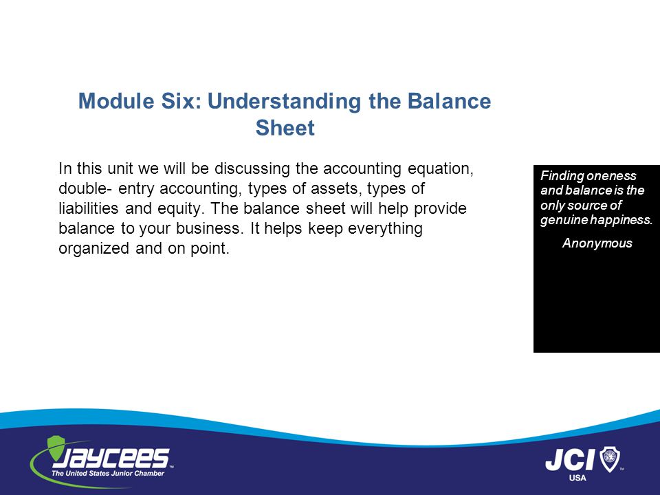 Module Six: Understanding the Balance Sheet In this unit we will be discussing the accounting equation, double- entry accounting, types of assets, types of liabilities and equity.