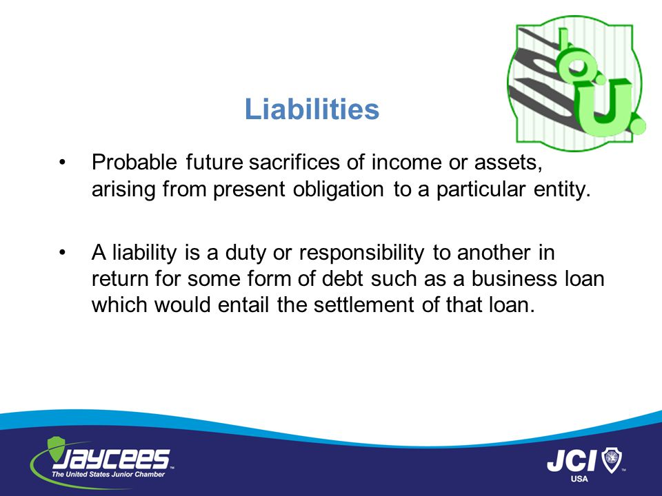 Liabilities Probable future sacrifices of income or assets, arising from present obligation to a particular entity.