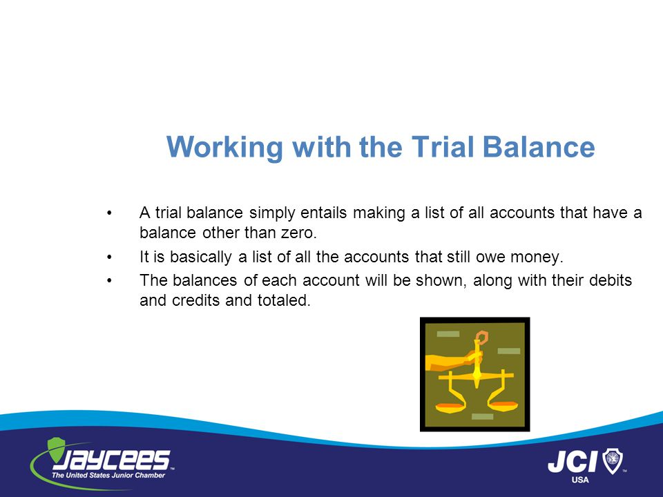 Working with the Trial Balance A trial balance simply entails making a list of all accounts that have a balance other than zero.