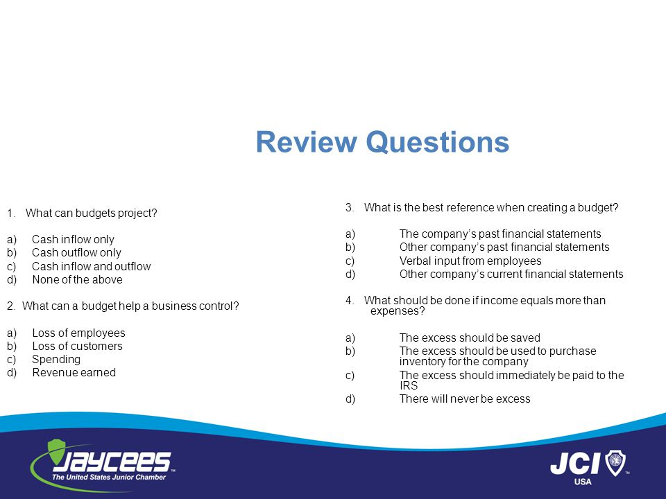 Review Questions 1.What can budgets project.