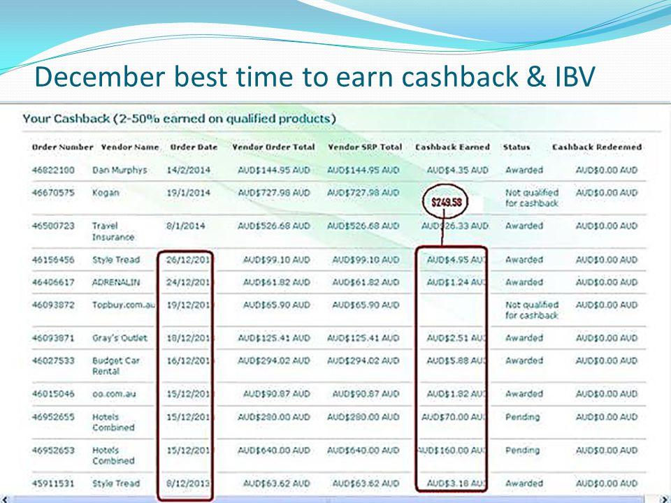 December best time to earn cashback & IBV