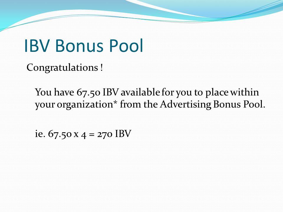 IBV Bonus Pool Congratulations .