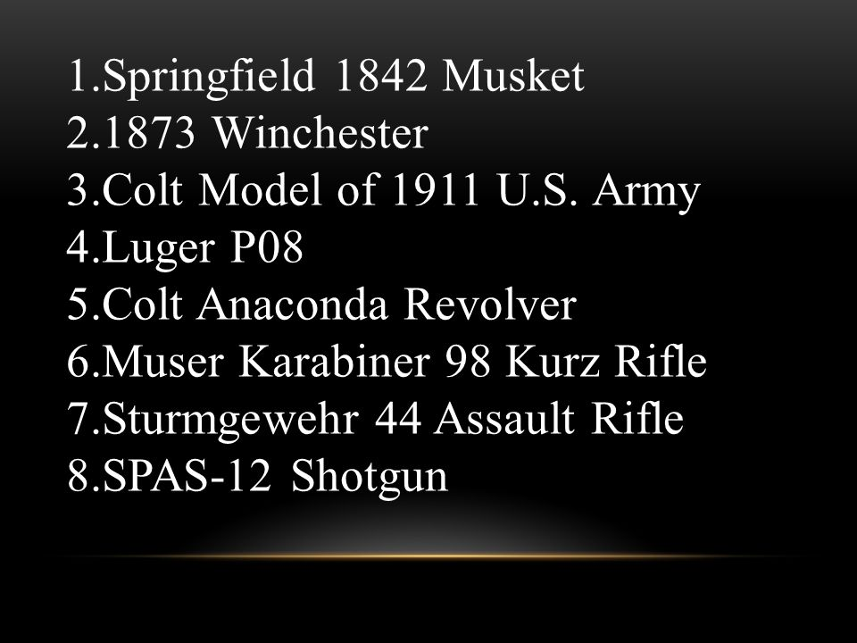 1.Springfield 1842 Musket 2.1873 Winchester 3.Colt Model of 1911 U.S.