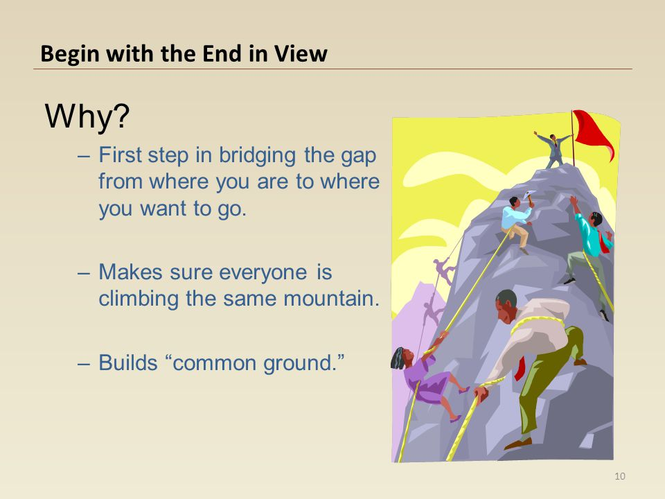 Begin with the End in View Why? –First step in bridging the gap from where you are to where you want to go. –Makes sure everyone is climbing the same