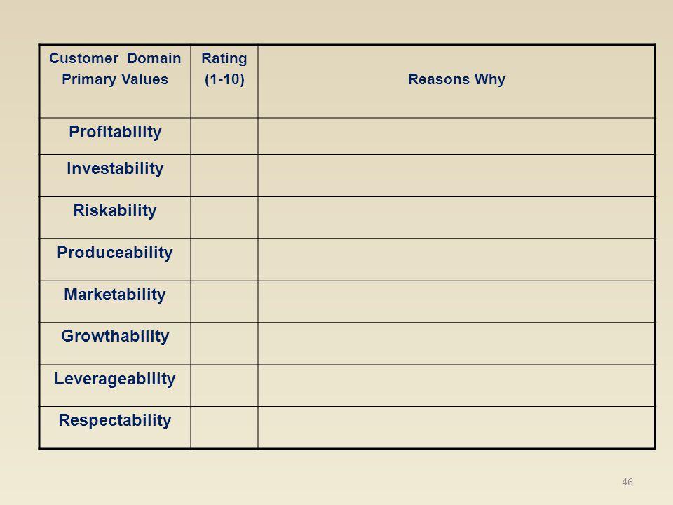 Customer Domain Primary Values Rating (1-10)Reasons Why Profitability Investability Riskability Produceability Marketability Growthability Leverageabi