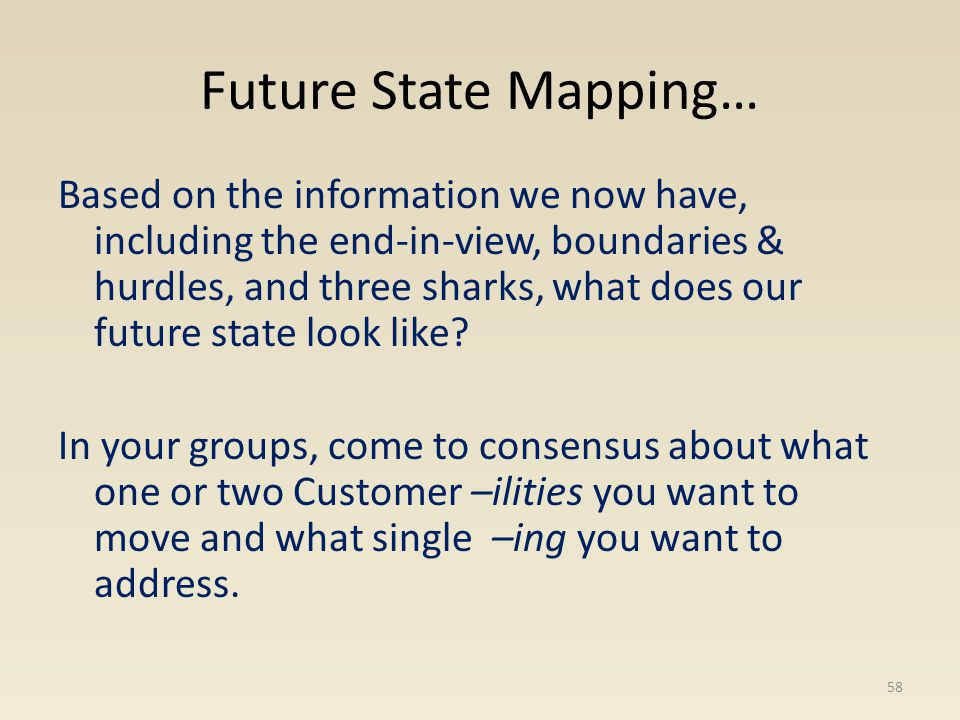 Future State Mapping… Based on the information we now have, including the end-in-view, boundaries & hurdles, and three sharks, what does our future st