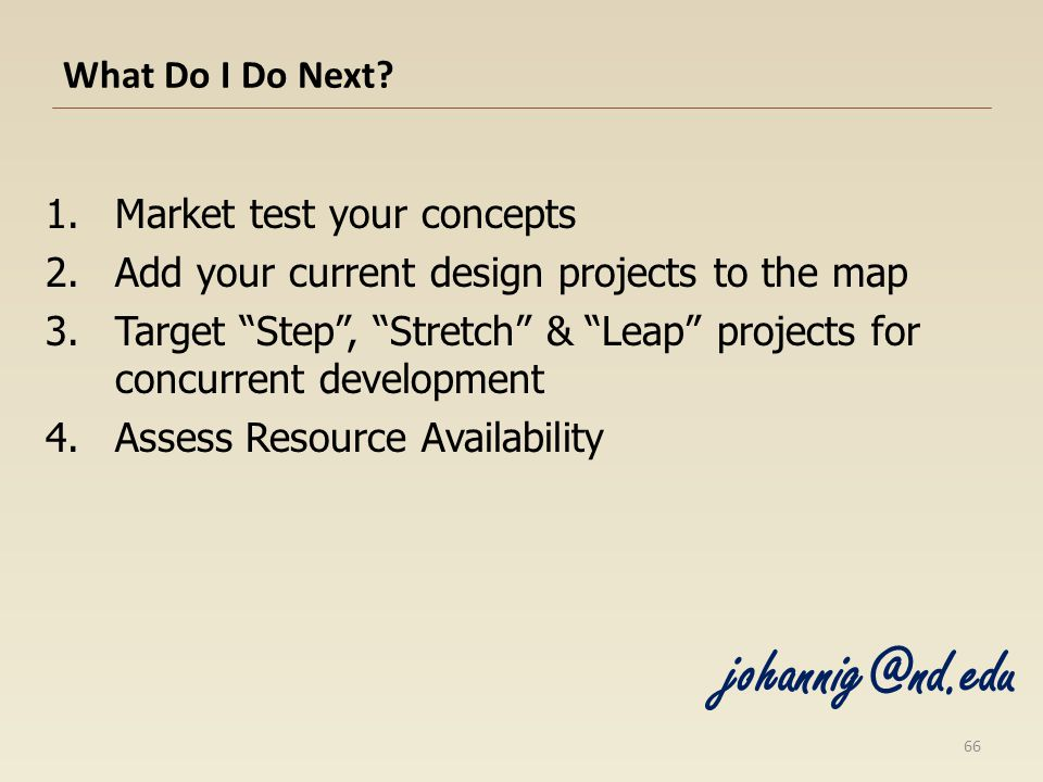 What Do I Do Next? 1.Market test your concepts 2.Add your current design projects to the map 3.Target Step, Stretch & Leap projects for concurrent dev
