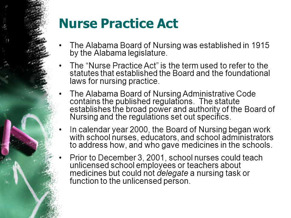 Nurse Practice Act The Alabama Board of Nursing was established in 1915 by the Alabama legislature. The Nurse Practice Act is the term used to refer t