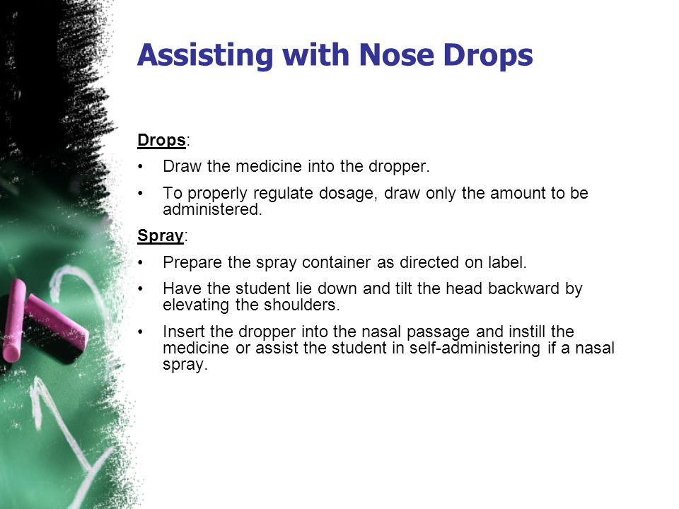 Drops: Draw the medicine into the dropper. To properly regulate dosage, draw only the amount to be administered. Spray: Prepare the spray container as