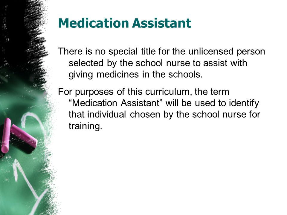 Ensures ongoing competence of medication assistant by routine monitoring to include observation of medication assisting techniques, review of the unlicensed school personnel s documentation, and correction actions taken to promote competence.
