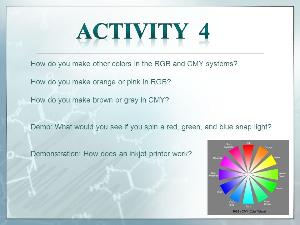 How do you make other colors in the RGB and CMY systems.