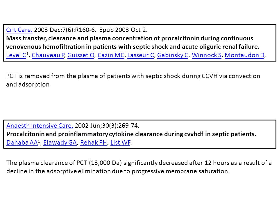 Anaesth Intensive Care.Anaesth Intensive Care. 2002 Jun;30(3):269-74. Procalcitonin and proinflammatory cytokine clearance during cvvhdf in septic pat