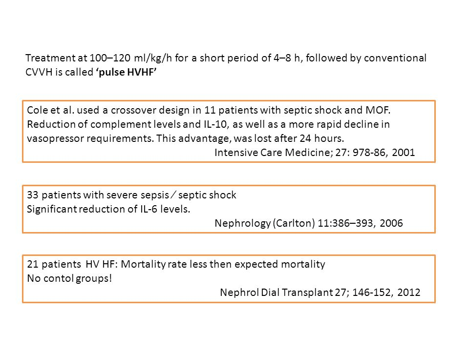 Cole et al. used a crossover design in 11 patients with septic shock and MOF. Reduction of complement levels and IL-10, as well as a more rapid declin