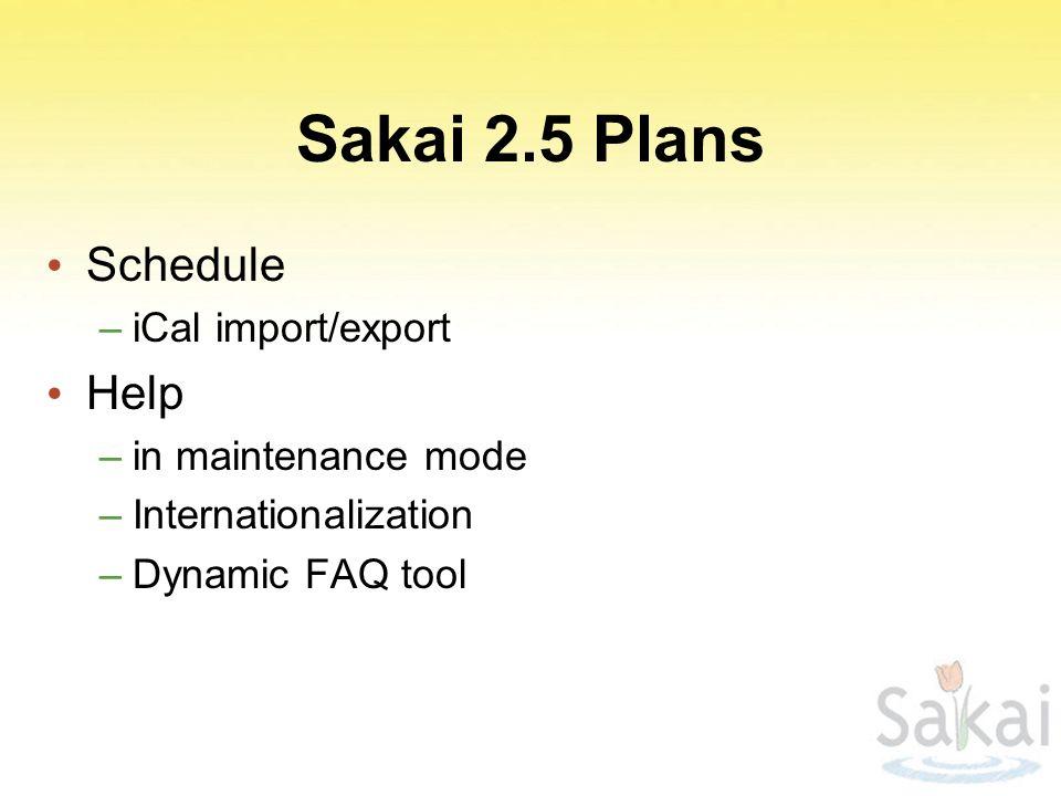 Sakai 2.5 Plans Schedule –iCal import/export Help –in maintenance mode –Internationalization –Dynamic FAQ tool