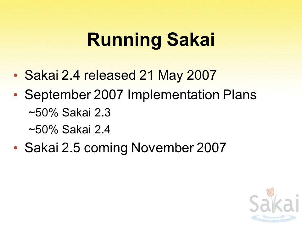 Running Sakai Sakai 2.4 released 21 May 2007 September 2007 Implementation Plans ~50% Sakai 2.3 ~50% Sakai 2.4 Sakai 2.5 coming November 2007
