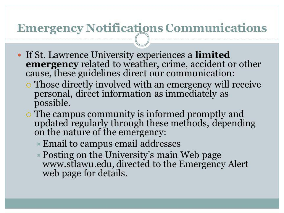 Emergency Notifications Communications If St.