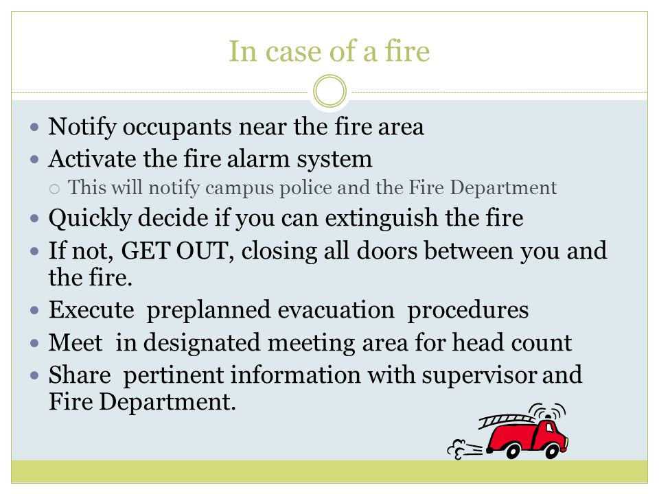 In case of a fire.....