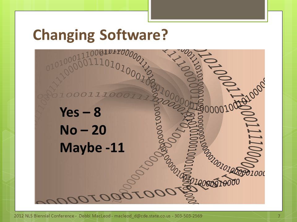 Changing Software.