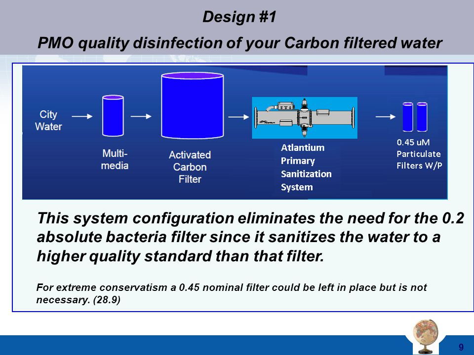 © 2011 Atlantium Technologies Ltd. 9 This system configuration eliminates the need for the 0.2 absolute bacteria filter since it sanitizes the water t