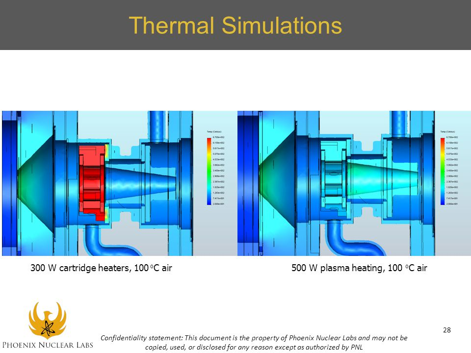 Thermal Simulations 300 W cartridge heaters, 100 o C air500 W plasma heating, 100 o C air Confidentiality statement: This document is the property of