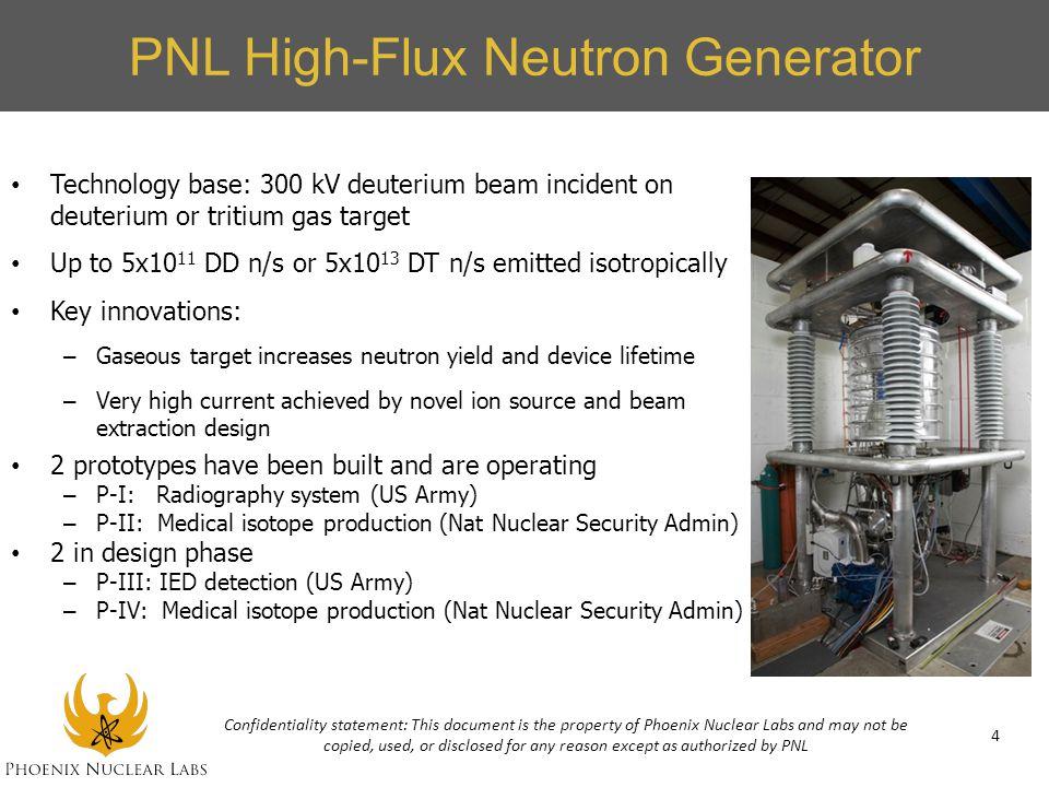 PNL High-Flux Neutron Generator Technology base: 300 kV deuterium beam incident on deuterium or tritium gas target Up to 5x10 11 DD n/s or 5x10 13 DT