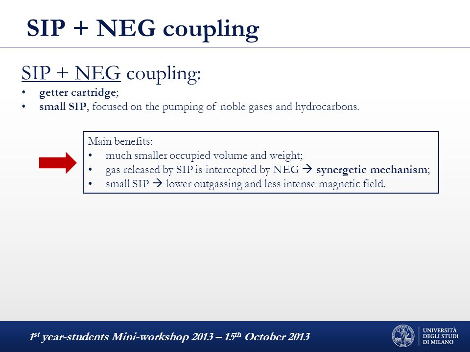 SIP + NEG coupling 1 st year-students Mini-workshop 2013 – 15 th October 2013 Main benefits: much smaller occupied volume and weight; gas released by
