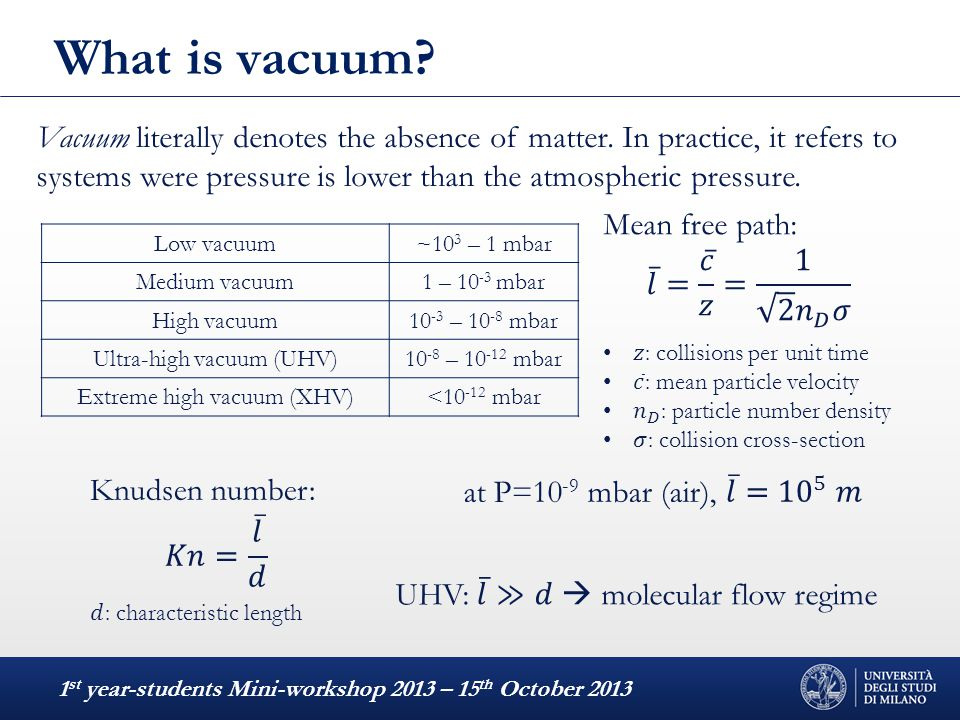 What is vacuum? 1 st year-students Mini-workshop 2013 – 15 th October 2013 Vacuum literally denotes the absence of matter. In practice, it refers to s