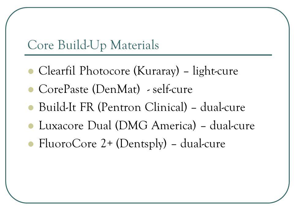 Crown and Bridge Temp Materials Integrity (Dentsply) * ProTemp Plus (3M ESPE) Structur 2 (Voco) * - Appears to be best price Luxatemp (DMG America) – Star, Plus and Solar PerfecTemp II (DenMat) ExactaTemp (Exacta) MaxiTemp (Henry Schein)
